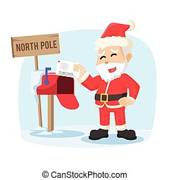 santa receiving letter illustration design