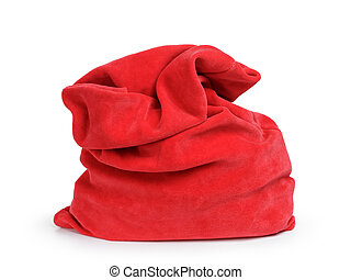 Santa red bag, isolated on white background