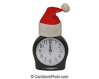 Santa red cap on clock. Isolated.