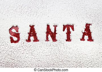 Santa red name in the snow