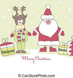 Santa, Reindeer and gift. Vector illustration - Christmas...