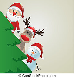 santa reindeer and snowman behind c