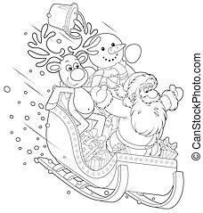 Santa, Reindeer and Snowman