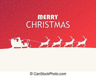 santa, reindeer., claus, 인사, 삽화, 겨울, 크리스마스., 벡터, 카드, 명랑한, sleigh, 조경술을 써서 녹화하다, design.