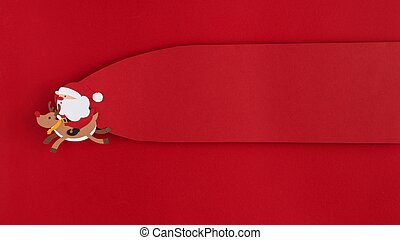 santa reindeer flying copy space label. High quality and resolution beautiful photo concept