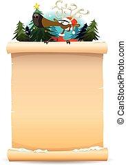 Santa Reindeer Holding Parchment Background
