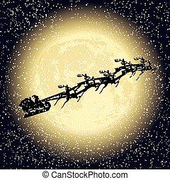 Santa reindeer in the night sky
