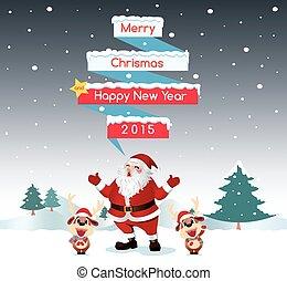 Santa & Reindeer Merry Christmas