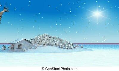 Santa, reindeer, sleigh, descending