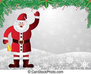 Santa Reindeer Snow Scene with Garland Illustration