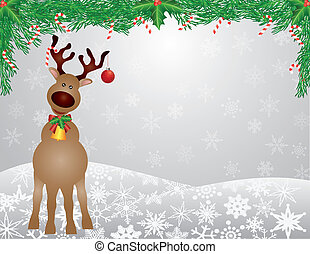 Santa Reindeer Snow Scene with Garland Illustration - Santa...