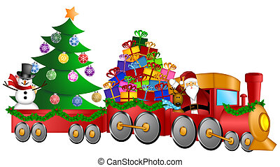 Santa Reindeer Snowman in Train with Gifts and Christmas Tree