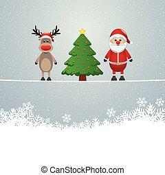 santa reindeer tree twine snowy background
