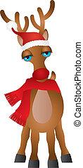 Santa Reindeer with Santa Hat Scarf Illustration