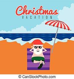 santa, relaxin, ligado, um, praia., christmas tiram férias