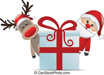 santa, rena, claus, presente natal