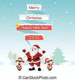 santa, &, rena, feliz natal