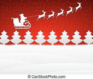 santa, renne, chanceux, fond, rouges