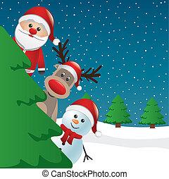 santa, renne, et, bonhomme de neige, derrière, arbre