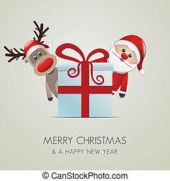 santa, reno, claus, regalo de navidad