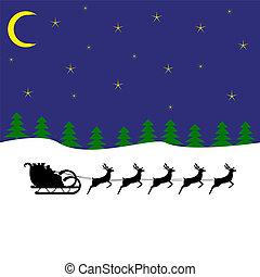 Santa rides a reindeer