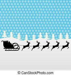 Santa rides a reindeer on a blue background