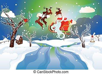 Santa Riding Christmas Sleigh at Night