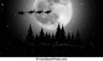 Santa riding his sleigh on the moon background