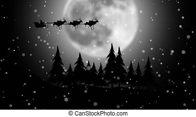 Santa riding his sleigh on the moon snowflakes background. Silhouette
