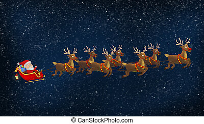 Santa Riding His Sleigh With Reindeers