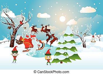 Santa Riding Reindeer Sleigh