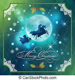 Santa Riding Sleigh in Christmas Night Background