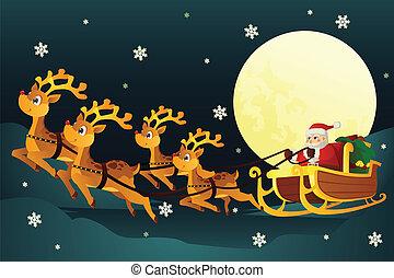 Santa riding sleigh with reindeers