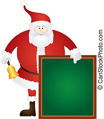 Santa Ringing Bell with Sign Board Illustration
