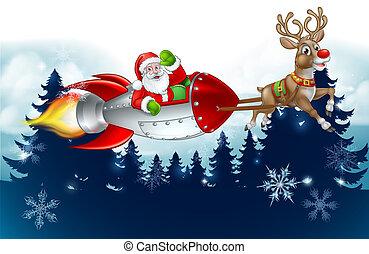 Santa Rocket Sleigh Christmas Background
