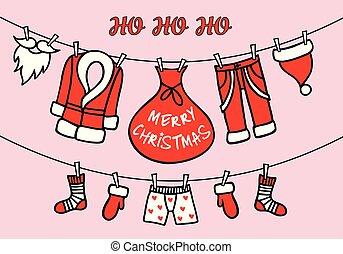 santa, rose, carte, claus, vecteur, clothesline, noël