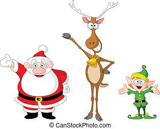 santa, rudolph, elfe