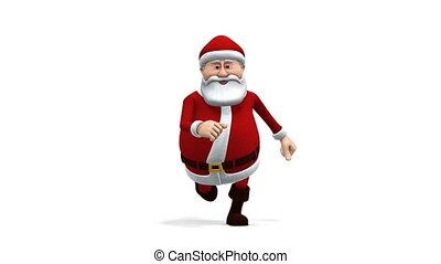 santa running - front view - cartoon santa claus running -...