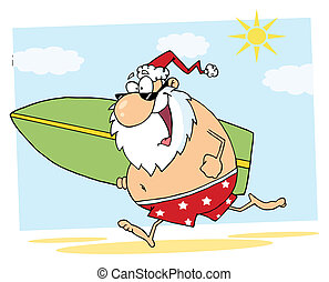 Santa Running On A Beach With A Surfboard