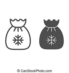 Santa s bag line and glyph icon. Xmas gifts vector illustration isolated on white. Christmas bag outline style design, designed for web and app. Eps 10.