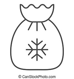 Santa s bag thin line icon. Xmas gifts vector illustration isolated on white. Christmas bag outline style design, designed for web and app. Eps 10.