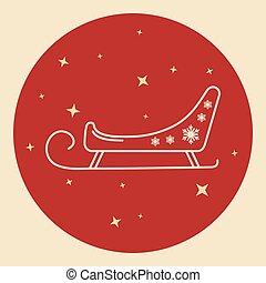 Santa s sleigh icon in thin line style