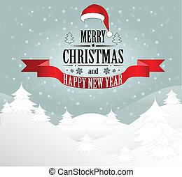 santa, salutation, vecteur, carte, joyeux, hat., noël, paysage