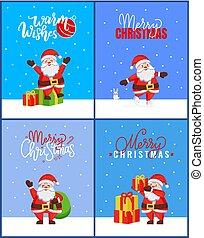 santa, sammlung, fröhlich, karten, weihnachten, glücklich