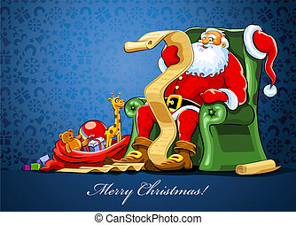 Santa - santa claus sitting in armchair with sack of gift...