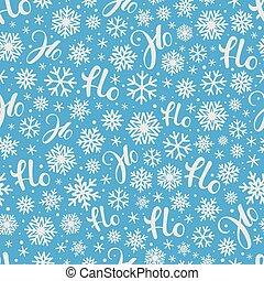 Santa says Hohoho. Blue vector pattern seamless texture for ...