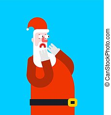 Santa scare fear face. Christmas and New Year illustration?