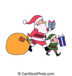 santa, scatole, elfo, regalo, cartone animato, claus