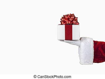 santa, segurar um presente