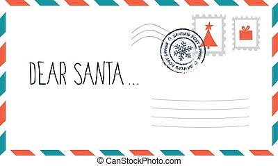 santa, selo, envelope, letra, querido, natal